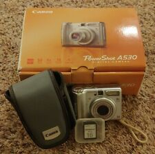 LOT CANON POWERSHOT A530 DIGITAL CAMERA CASE MEMORY CARD ORIGINAL BOX & MANUALS