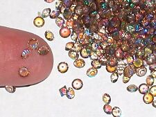30pc Tiny little Crystal Ball rhinestone micro gems 3mm AB coffee brown rainbow