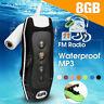Waterproof 8GB MP3 Player + Headphone Clip Music Player Swimming Diving Running