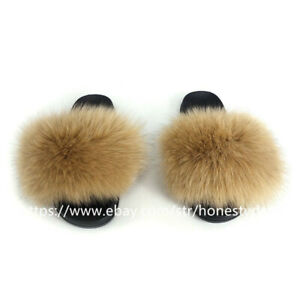 Women's Real Fox Fur Slides Fuzzy Furry Slippers Comfort Sliders Sandals Shoes