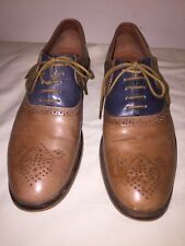 """Ben Sherman """"Mayfair"""" Blue / Brown  Leather Lace-Up Casual Oxford Shoe Sz US 10"""