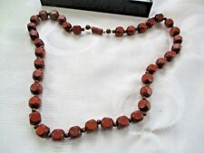 """VINTAGE FACETED SQUARE WOODEN BEADED   22"""" NECKLACE"""