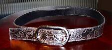 Michael Kors Authentic Womens Pewter Belt MK Logo Siz M