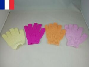 Lot 10X Paire de Gants Bain Exfoliants Massage Peau Douce 4 couleurs