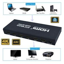 HDMI Matrix Switch Switcher Splitter 4x2 Optical+Stereo Audio Out+Remote Control