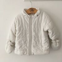Emile et rose baby boy Girls Unisex coat White Mittens No Hood 9 To 12 Months