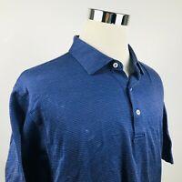 Peter Millar Mens XL Luxury Golf Polo Shirt Navy Blue White Pindot 100% Cotton