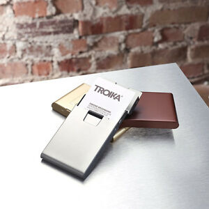 Troika ALUMINUM BUSINESS CARD CASE with rolling mechanism rolls out the card