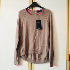 M&S Womens Mink Brown Long Sleeve Tipped Tunic Jumper with Wool Size 8 BNWT