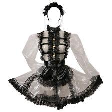 Forced Sissy Maid Clear PVC Transparent Black Lace Dress Costume Three Lock