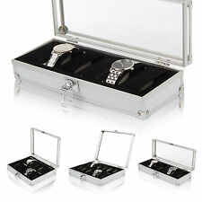 6/10/12 Aluminum Wristwatch Watch Jewellery Display Storage Case Box Showcase