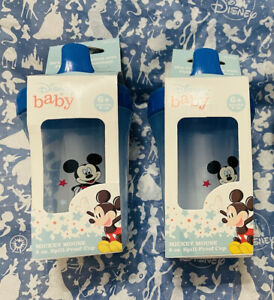 👼🏻NIB Set Of 2 Disney Baby Mickey Mouse 8oz Spill proof sippy cup 6 mos +