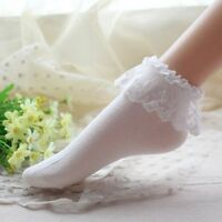 White Ruffle Lace Top Plain Foot Nylon Ankle Socks Sexy Designer Lingerie P2011