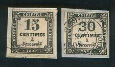 France Taxe 1863-1870 - N°3 15c., noir - N°6 30c., noir - oblitérés, s/fragment