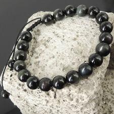 Men's Awareness Healing Adjustable Braided Bracelet Rainbow Black Obsidian 819