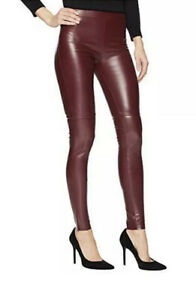 """Wolford Estella Merlot Leggings Faux Leather Size 42 Nwt Inseam: 31"""" Raw Hem"""