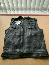 Leather Waistcoat Motorcycle Motorbiker Vest Sons of Anarchy Cut Quality - XL