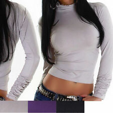 Bauchfreie figurbetonte Damenblusen, - tops & -shirts aus Viskose ohne Muster