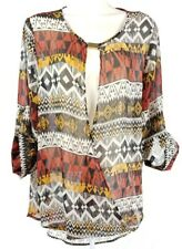 Womens Ashley Stewart Sheer 3/4 Sleeve Geometric Design Size 12 Shirt Top