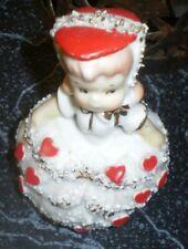 Vintage Lefton ? valentine figural lady bell 4 inch