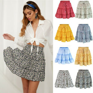 Womens Summer Floral Skirt Mini Dress Ladies Elastic Waist Beach Short Sundress