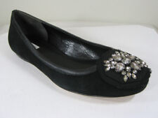 NEW VERA WANG FOOTWEAR Hope Black Suede Leather/Crystals Ballet Flat Shoes US 7