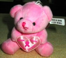 Breast Cancer Awareness Plush Pink Bear with Silver Key Chain NEW