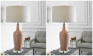 "PAIR ANASTASIA MODERN CERAMIC XL 33"" TABLE LAMP UTTERMOST CRYSTAL BASE 28369"