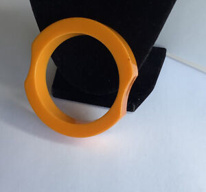 Vintage Bakelite Butterscotch Abstract Thick Carved Cuff Bracelet Estate Jewelry