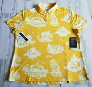 Nike Dri Fit Golf Polo Women Printed Short Sleeve Mustard UPF 40+ M or S YELLOW