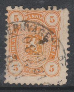 Finland - 1875/84, 5p Orange stamp - Perf 11 - G/U - SG 67