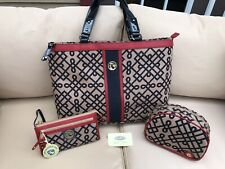 NEW SPARTINA Set-Red, Navy, Linen Purse Tote, Cosmetic, Wristlet Wallet Mermaid
