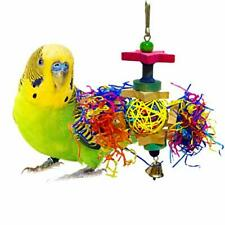 SunGrow Bird Toy Brightly Colored Playtoy of Rattan Wood and Shredded Paper S.