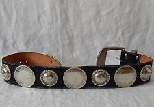 Huge Vintage Concho Belt Al Beres Black Leather Tooled 7 Silver Conchos Rare