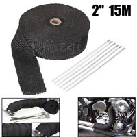 "2"" x 15M CARS BLACK TITANIUM HEAT WRAP EXHAUST INSULATING TAPE DOWNPIPE MANIFOLD"