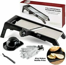 Mandoline Food Slicer, Adjustable Stainless Steel with Waffle Fry Cutter