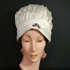 Vntg Women's 1960 Ranleigh Hat Cream Satin Rhinestone Pin
