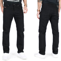 Diesel Herren Regular Slim Fit Stretch Jeans Hose - Schwarz - Buster 0886Z