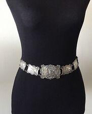 Ornate Scenes of Cherubs 177grams 27 Art Nouveau Sterling Silver Link Belt -