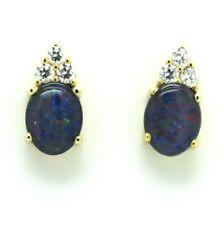 Ohrstecker Ohrringe mit einem Opal und Zirkonia 8kt 333 Gelbgold
