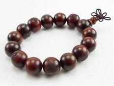 "Big Stretchy 14 15mm Red Sandalwood Carved Buddha Prayer Beads Mala Bracelet -7"""