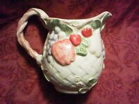 Easter Spring 3Q Basket Weave Ceramic Pitcher Grape Apple Strawberry Pear Orange
