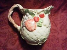 3Q Fall Fruit Basket Weave Ceramic Pitcher Grape Apple Strawberry Pear Orange