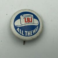"LBJ All The Way Johnson American Oil Cowboy Hat Graphics 1"" Pin Pinback Vtg  N6"