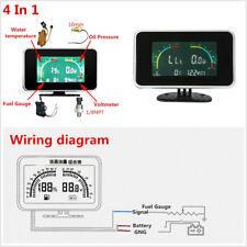 4-In-1 Car SUV Off-Road Voltmeter/Water Temp/Oil Pressure/Fuel Gauge LCD Display
