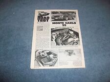 1984 Chevy Monte Carlo SS Vintage Road Test Info Article Super Sport