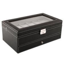 Black 12 Watch Storage Box Case Bracelet Bangle Jewellery Display Tray Orga B5G1