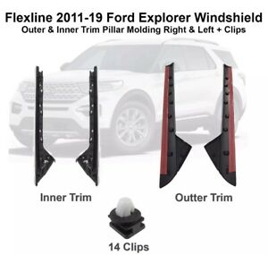 2011-2019 Ford Explorer Windshield Outer and Inner Trim R & L Side +Clips DW1843