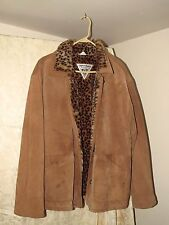 J. Percy For Marvin Richards Brown Leather Coat W/ Cheetah Fur Womens Size LARGE