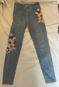 TOPSHOP JONI W30 L32 Pink Embroidered Floral Skinny Stretch Blue Jeans Denim